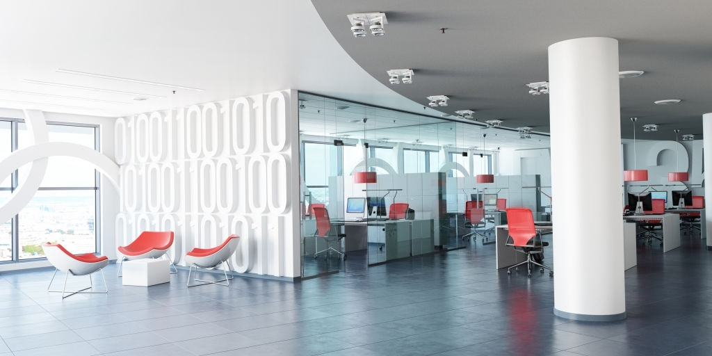 modern corporate office in white, glass and red