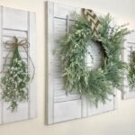 Rustic Leaf Wreath and Shutter Wall Hanging